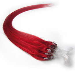 Wholesale 100S quot Micro rings loop hair remy Human Hair Extensions red mix s set