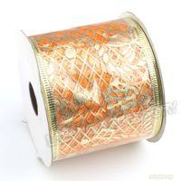 Wholesale Christmas Ribbon Yellow Organza Hot Stamping Notes Pattern m Fit Xmas Decoration