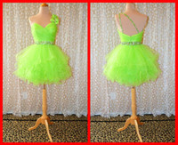 Wholesale Lime Green Short Ball Gown - 2016 Lime Green Homecoming Dresses One shoulder Ball Gown Short Bows Crystals Sequins Ruffles Cheap For Girls Cocktail Prom Party Dress