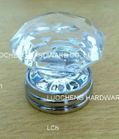 Wholesale 20PCS MM CLEAR CRYSTAL KNOB ON A CHROME BRASS BASE CABINET KNOB