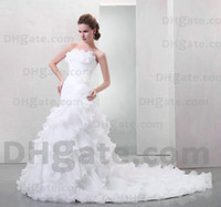 Actual Images empire waist - New Dramatic sleeveless Chapel Train empire waist strapless white organza Wedding Dresses n185