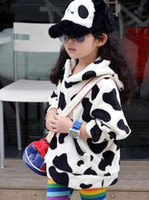 Girl 3-9 years 100 110 120 130 140 Baby girl hoodies Cows style outwear with cap Sports coat outfits Girl tops 5pcs lot