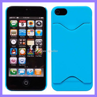 Plastic For Apple iPhone For Christmas For iphone 5 5Gcase, plastic hard back cover with credit card slot design for iphone5 for Xmas blue