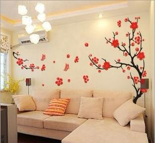 Removable plum blossom living room decorative wall - Wall sticker ideas for living room ...