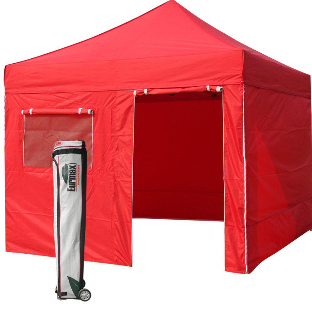 2017 New Eurmax Red Canopy 10 X 10 Commercial Ez Pop Up