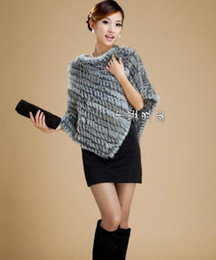 [CPA Free Shipping] Hot Sale Knitting Rabbit Fur Poncho   Rabbit Fur Cape   Fur Shawl (FP-09)