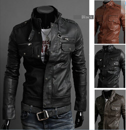 Wholesale Men s Slim Commuter Stand up collar PU Leather Leather motorcycle Jackets Coat Outerwear