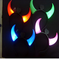 Wholesale Hot selling Devil Horn Headband Hair LED Flash Battery Included Halloween Accessory