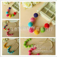 Wholesale Girls sweater chain Necklace Ornaments Color bead candy colo rainbow Pearl Christmas Ornament