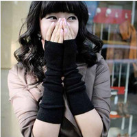 Wholesale Long knit wrist Fingerless long gloves gloves solid arm sleeve Knit Fingerless Gloves wristlets