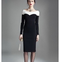Wholesale Vintage dress Sheath Long Sleeve Knee Length Round neckline Slim dresses fashion skirt Sexy Black