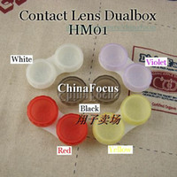 Wholesale Color Contact Lenses Case Dual Box Double Case Lens Soaking Case HM01