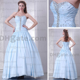 Wholesale Light Blue Quinceanera Dresses Sweetheart Floor Length Taffeta Ball Gown Prom Dresses Real Image