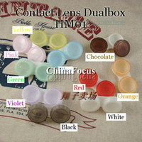 Wholesale Freeshipping Color Contact Lenses Case Dual Box Double Case Lens Soaking Case HM01 sets