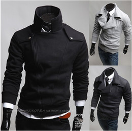 Wholesale HOT Men s Hoodies amp Sweatshirts Jacket Men s Slim Diagonal zipper Lapel Jacket Sweater Coat