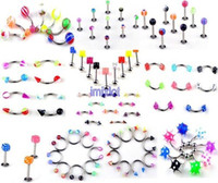 Wholesale 220pcs Mixed Body Piercing Jewelry Labret Lip Belly Tongue Eyebrow Bar Ring Navel Belly Rings BA10 BA11 BA13 BA21