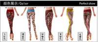 Wholesale 2012 new Fashion Women s Leggings patterned tights stitching girls Slim stretch leisure high waist