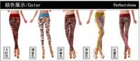 Wholesale 2012 new Fashion Women s Leggings patterned tights stitching girls Slim stretch leisure high waist