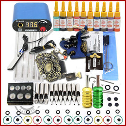 Wholesale NEW TOP Tattoo Kit Inks Machine Guns Grips Needles Power Set Equipment Supplies WS K259 LO Gun Sets