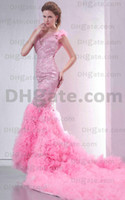 Wholesale 2011 Prom dresses beading sheer straps qpplique pink mermaid tulle Evening Dresses open back n151