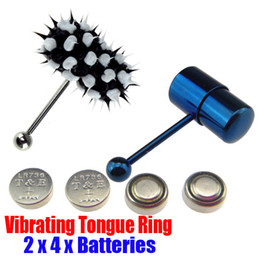 Wholesale 2 Vibrating Tongue Bar Ring Koosh Ball Free Batteries for Body Jewelry Piercing BJA004