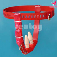 Female Chastiy Belt  Red Chastity Belt with Both Vibrating Anal Plug & Vibrating Vaginal Plug