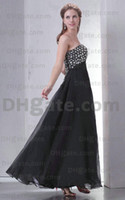Wholesale Black Sweetheart Designers floor length strapless beaded prom Dresses Corset Back Chffion Crystals Evening Dresses Party Gowns