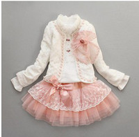 Wholesale Kid s Fashion Pearl Set For Party Girl s Bow tie Jacket Lace Collar T shirt Tutu Skirt Pieces Set