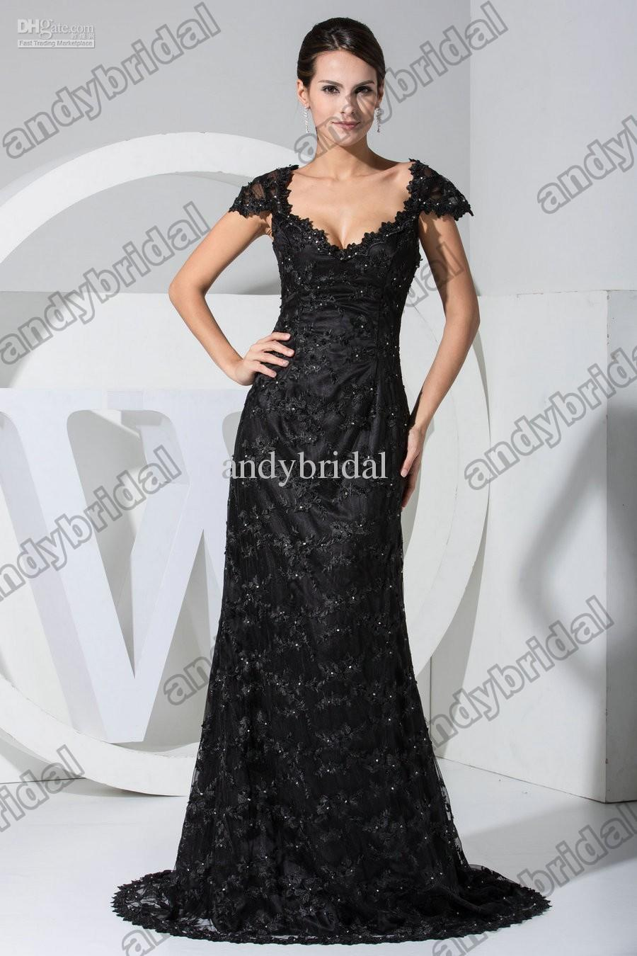 Elegant 2013 V Neck A Line Long Beads Black Lace Prom Dresses ...