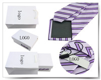 Wholesale neck tie set custom logo accept with ties and cufflinks tie clips amp kerchief in gift box set