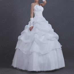 Wholesale A Line Strapless Beaded Embroidery Ruffles Chiffon Floor Length New Arrival Wedding Dress LF128