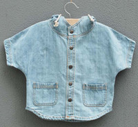6T-7T 3T-4T-5T-6T-7T-8T Without Hood Wholesale Girls Poncho Denim Clothes Girls Jacket Children Clothing Kids Coat Kids Outwear Tops