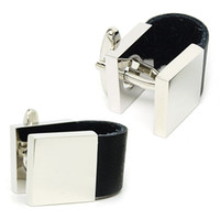 Wholesale Top Grade U shape Genuine Leather Platinum Business Cufflinks Latest Design White Gold Cuff Lock