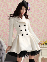 Wholesale Women double breast Long Wool Coat Pure White Twill High quality fabric Fashion lace bottom