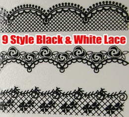 18pcs Black & White Lace Nail Art Water Decals Transfer Transfers DECAL Nail Art Wrap Wraps Sexy Strip Tattoo FOR NATURAL   FALSE NAILS Tips