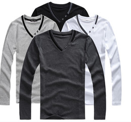 Wholesale Men s t shirt long sleeved T shirt men long sleeve V collar male