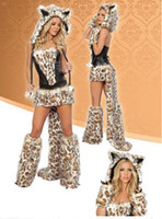 Wholesale Sexy Furry Leopard Print Furry Costume Halloween Cat Wolf Leopard Nightclub DS Clothing best price
