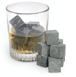Wholesale Free shiping whisky stone set velvet bag wine whiskey rock stones