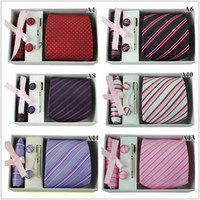 Wholesale New Fashion Jacquard Men s Tie Necktie Stripe Neck Tie amp Tie Bar Cufflinks amp Hanky Set Style