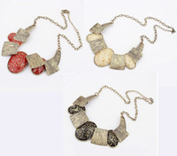 Wholesale Fashion Bronze Tone Metal Wire Print Ellipse Resin Gem Choker Necklace colors mix color
