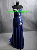 Wholesale New Style Sexy Royal Blue Wedding Dresses Mermaid Beaded Ruffled Floor Length Chiffon Evening Dress