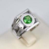 Wholesale Hot Sale Green Lantern Emerald Sterling Silver Ring Fashion Man Rings