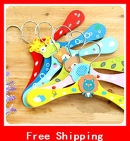 Wholesale HOT Childrens Clothes Hangers Baby Pants Clip Cute Wooden Cartoon Hangers On Non Slip Firm Durable