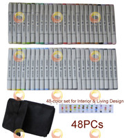 Cheap Calligraphy & Fountain Pens marker set Best 48-Color set for Interior & Living a fine point tip & a broad tip copic