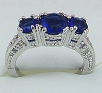 Wholesale Fashion jewelry ct Woman s Sapphire gemstone ring kt mark white Gold rings Free Shi