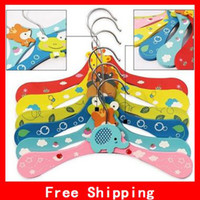 Wholesale Lovely Wooden Cartoon Hangers Style Wooden Rack Children Clothes Triangle Hangers