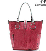 Women real leather designer handbags - Snake Pattern cowhide WOMEN SHOULDER BAG cow leather designer handbags REAL LEATHER bags tote bag