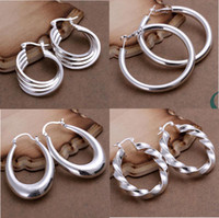 Wholesale Mixed Order Styles Sterling Silver Oval Round Beads Hoop Drop Earrings ER126