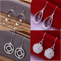 Wholesale Mixed Order Styles Sterling Silver Oval Round Beads Drop Earrings ER127