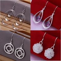 Silver bead drop earrings - Mixed Order Styles Sterling Silver Oval Round Beads Drop Earrings ER127